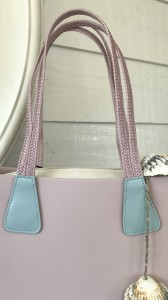 O Bag short handles Doppia Treccia Eco Leather Blue/Smoke pink